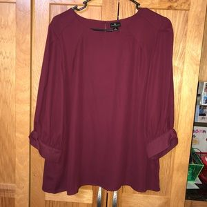 Wine colored three-quarter sleeve blouse